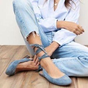 NIB MADEWELL Ankle Wrap flats dusty blue suede 8.5